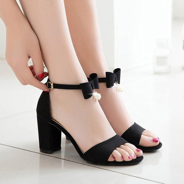 Women Sandals Fashion Solid Bow Pearl Hasp Round
