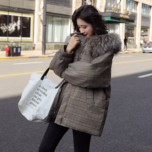 Women Winter Thick Parka Plaid Cotton Coat