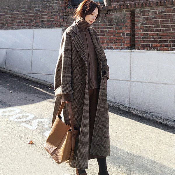 Women Wool Coat Winter Warm Plaid Long Woolen