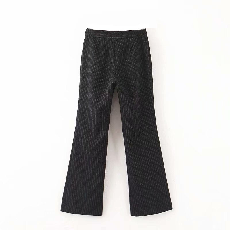 Women's Wide Leg Pants Causal Striped Black Long freeshipping - PuaGme