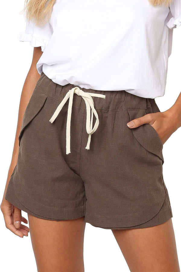 Women Casual Khaki Faylin Linen Shorts