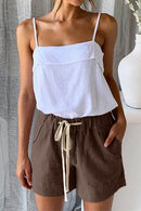 Women Casual Khaki Faylin Linen Shorts freeshipping - PuaGme