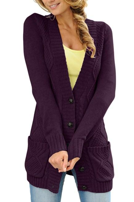 Women Purple Front Pocket And Buttons Closure Cardigan