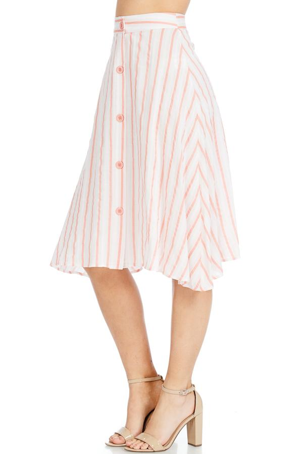 Linen Stripe Button Front A-Line Midi Skirt