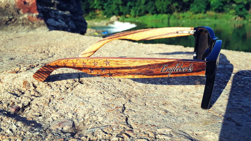 Zebrawood Sunglasses, Stars and Bars With Wooden Case, Polarized, freeshipping - PuaGme