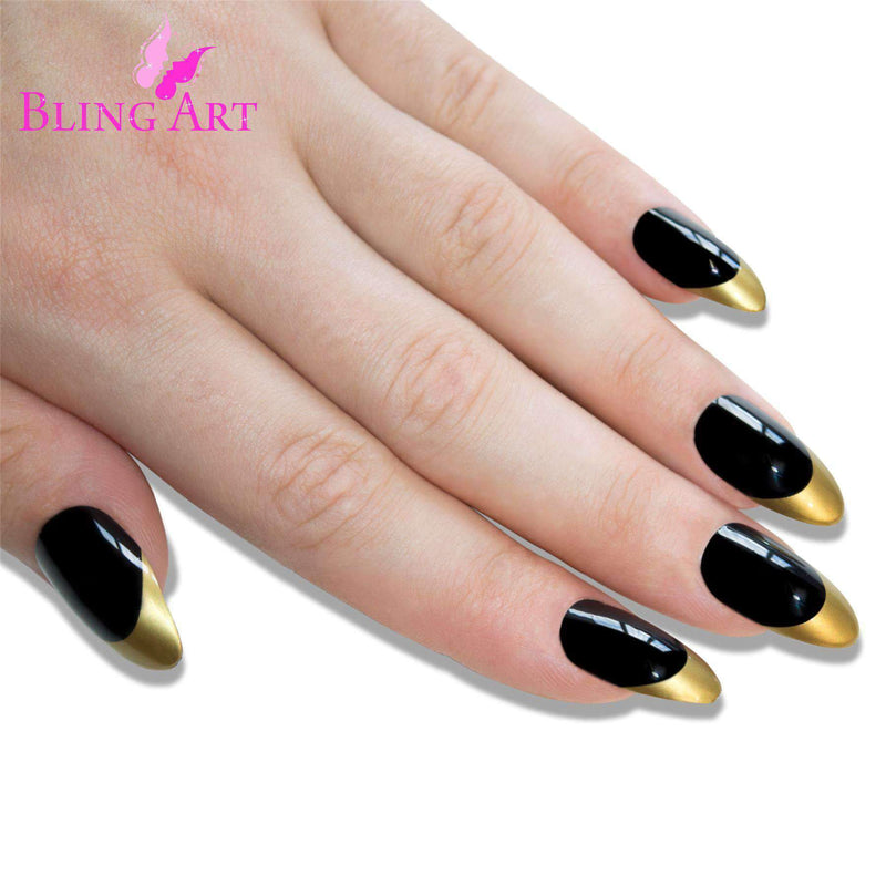 False Nails Bling Art Black Gold Almond Stiletto freeshipping - PuaGme