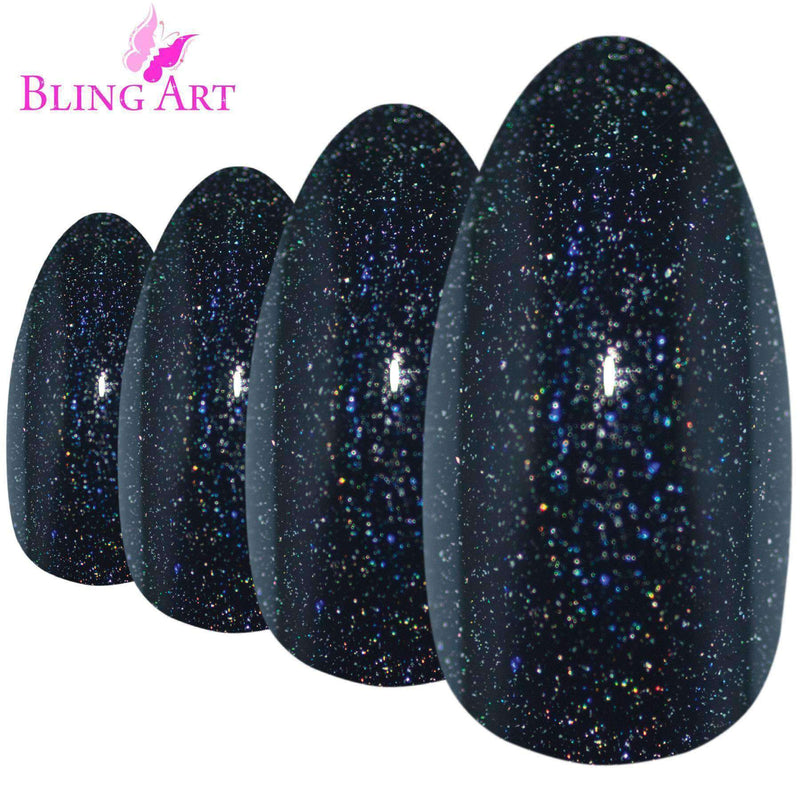 False Nails by Bling Art Black Gel Almond Stiletto