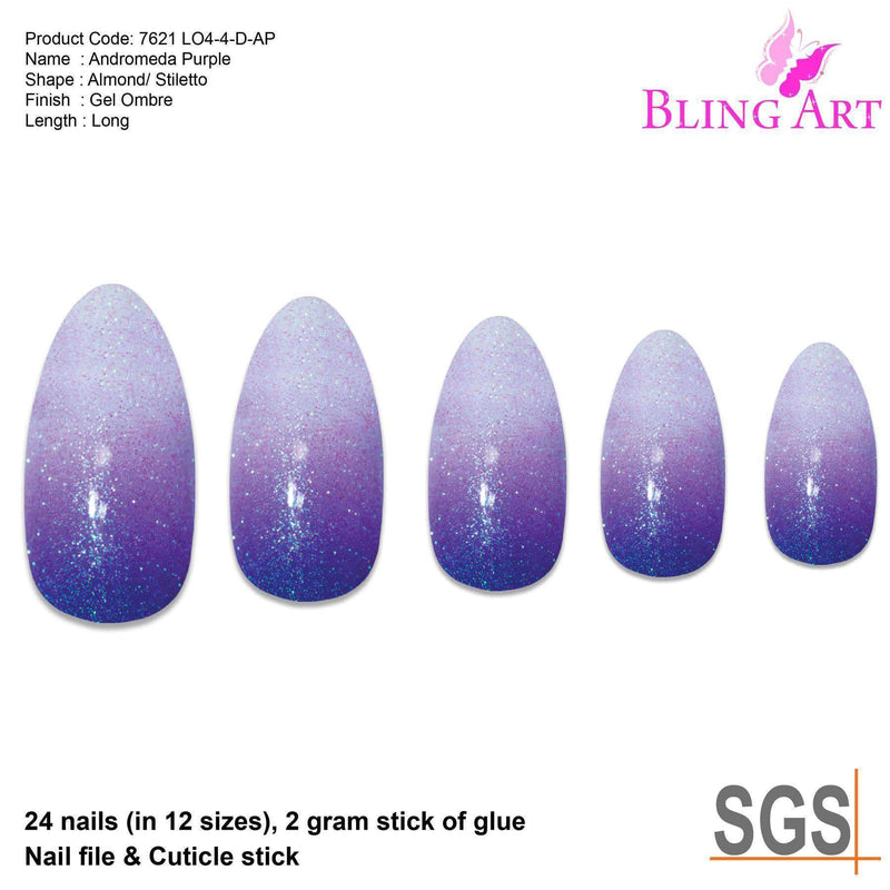 False Nails by Bling Art Purple Gel Ombre Almond Stiletto 24 Fake freeshipping - PuaGme