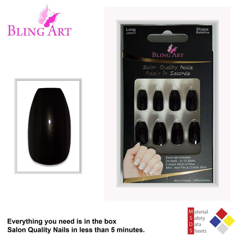 False Nails Bling Art Black Polished Ballerina freeshipping - PuaGme