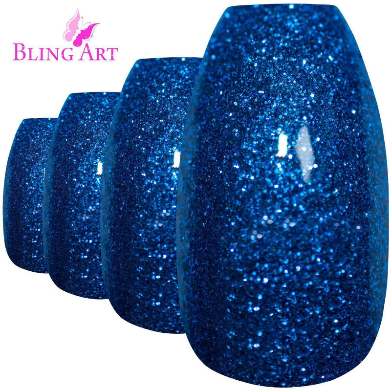 False Nails by Bling Art Blue Gel Ballerina Coffin freeshipping - PuaGme