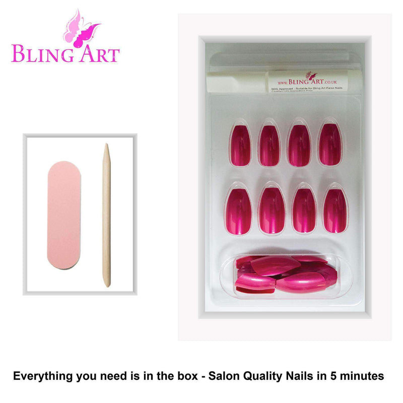 False Nails by Bling Art Red Glitter Ballerina freeshipping - PuaGme