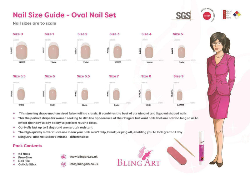 False Nails by Bling Art White Gel Oval Medium freeshipping - PuaGme