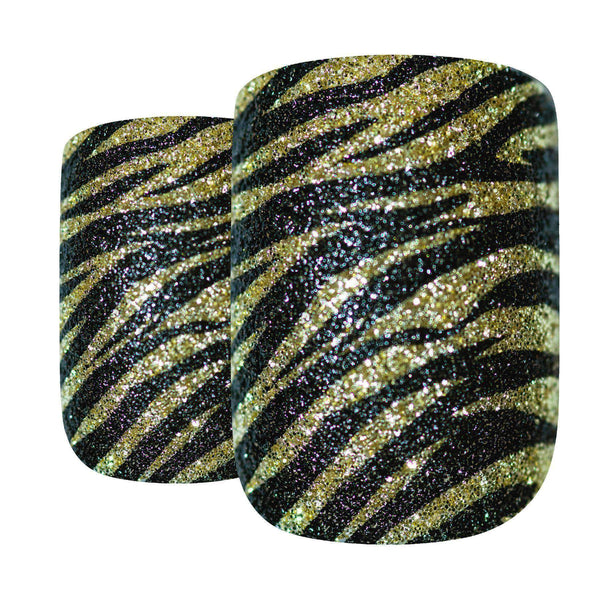 False Nails by Bling Art Gold Black French