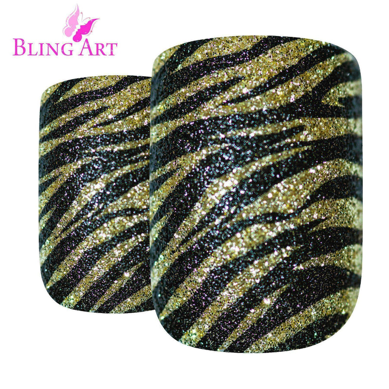 False Nails by Bling Art Gold Black French freeshipping - PuaGme