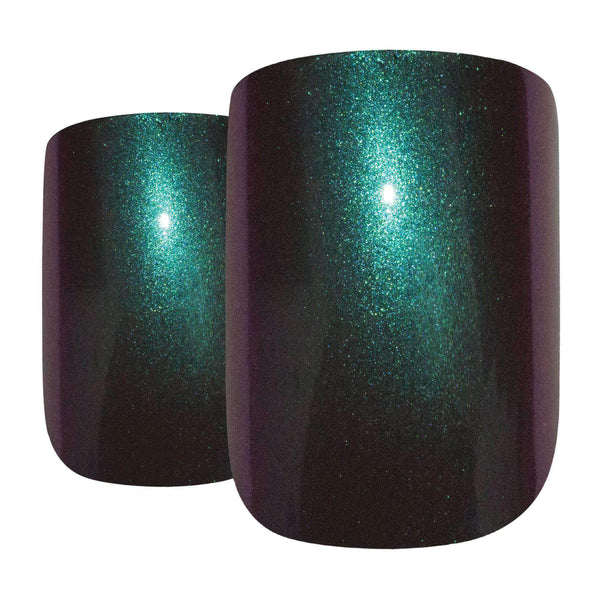 False Nails by Bling Art Green Purple Chameleon French Squoval 24 Fake