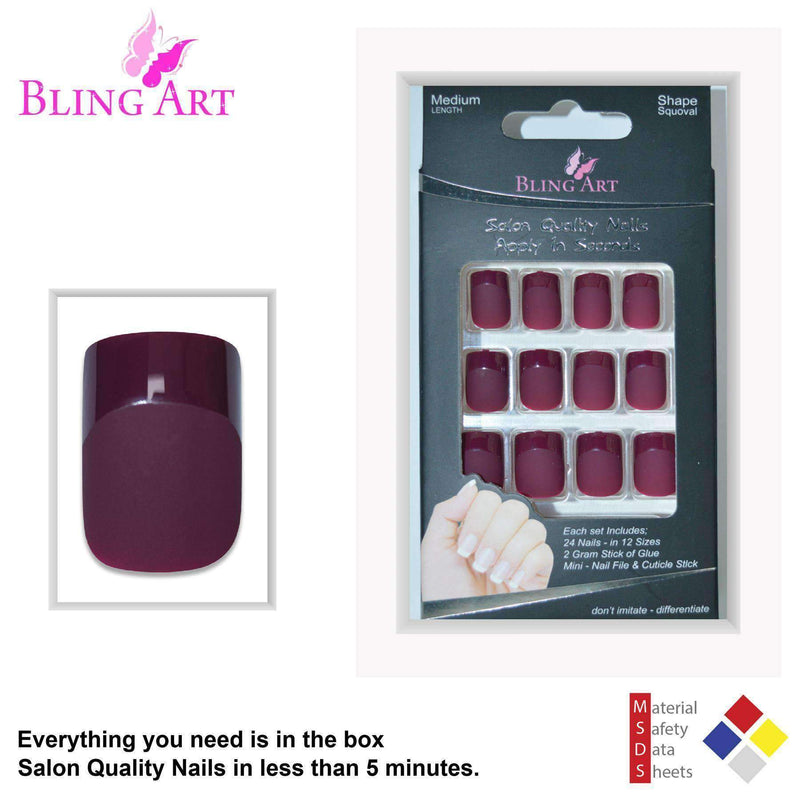False Nails by Bling Art Red Brown Matte French Squoval 24 Fake Medium freeshipping - PuaGme