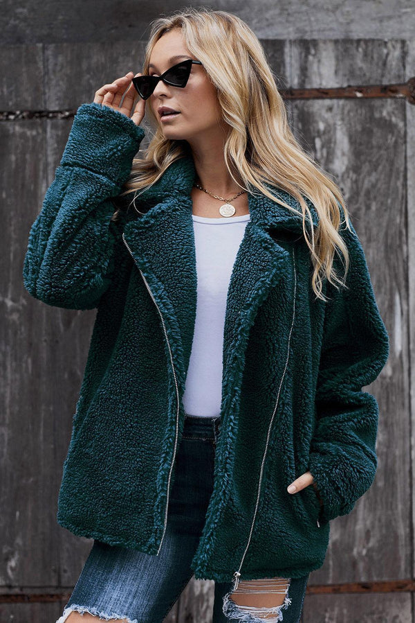 Winter Green Breaker Pocketed Sherpa Statement Jacket