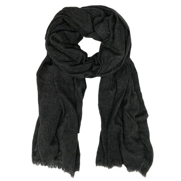 Charcoal Handloom  Cashmere Scarf