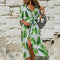 Women Floral High Split Long Dress Summer Long Sleeve Beach Sexy freeshipping - PuaGme