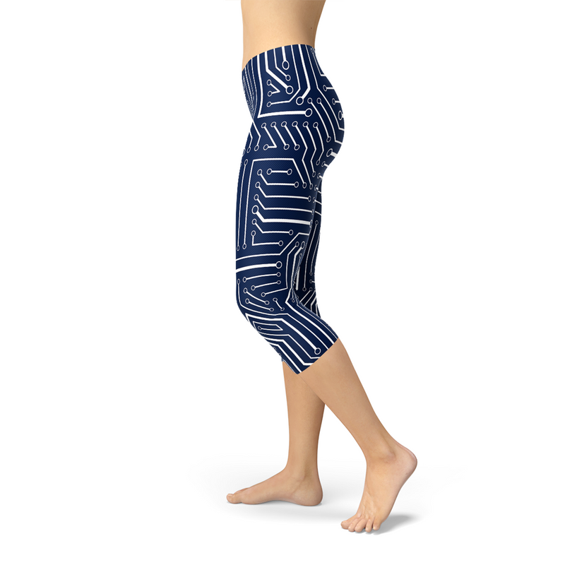 Womens Navy Blue Circuit Capri Leggings freeshipping - PuaGme