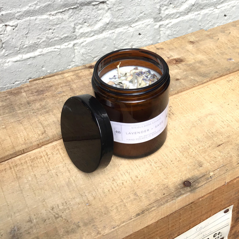 Lavender + White Sage Aromatherapy Scented Soy Wax Candle