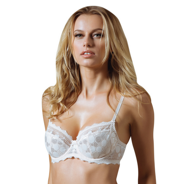 Semi Sheer Full Figure Lace Bra Polka Dot Lauma Pearly Shadow