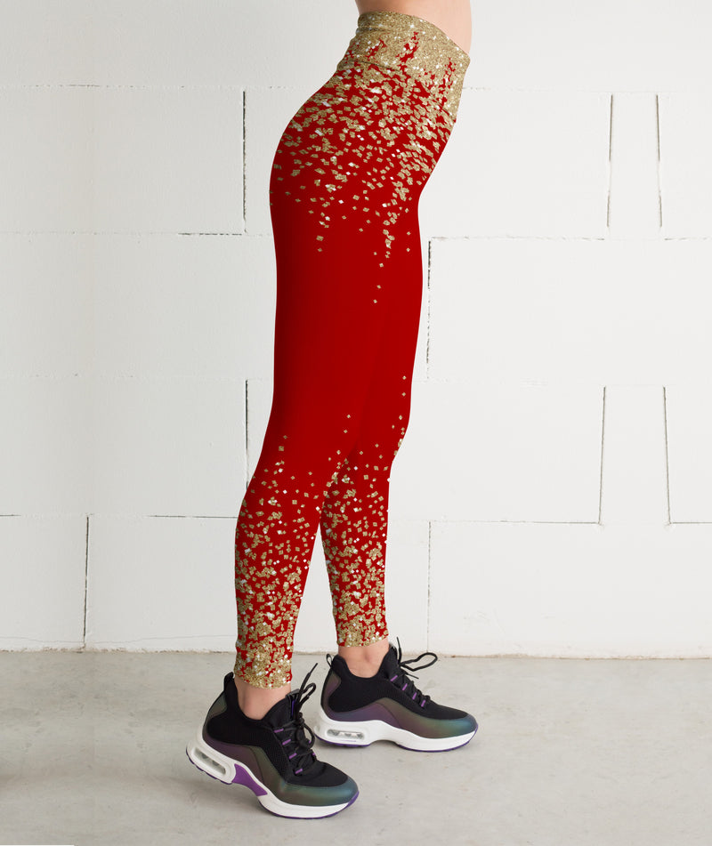 Red Gold glitter leggings, Capris and Shorts