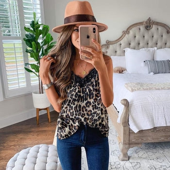 Lace Trimmed Women Camis Sexy Leopard Camisole Tank Tops