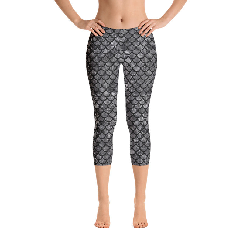 Black Mermaid Leggings, Capris and Shorts