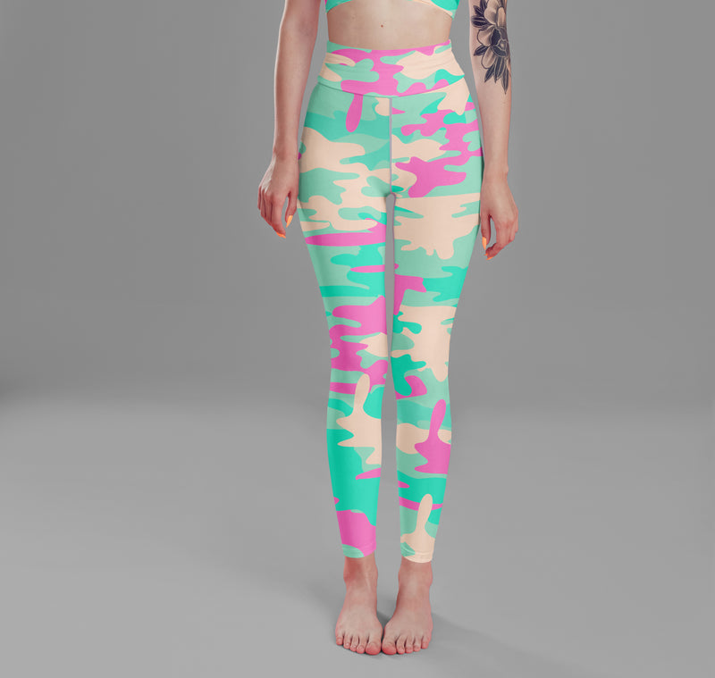 Blue Pink Camo Leggings, Capris and Shorts