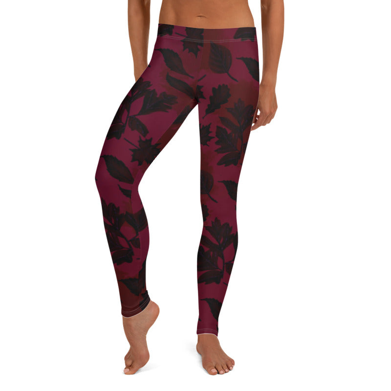 Burgundy leaf leggings, Capris and Shorts freeshipping - PuaGme