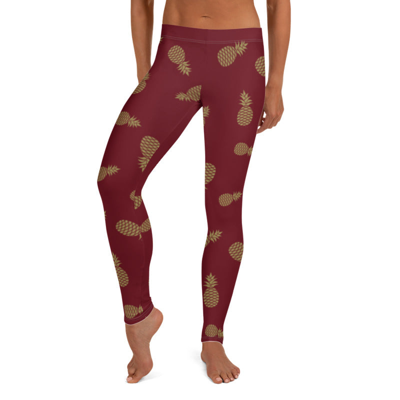 Burgundy Pineapple leggings, Capris and Shorts freeshipping - PuaGme