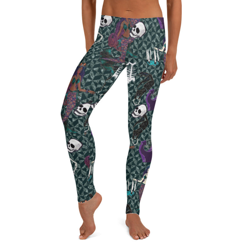 Mermaid Skull leggings, Capris and Shorts freeshipping - PuaGme