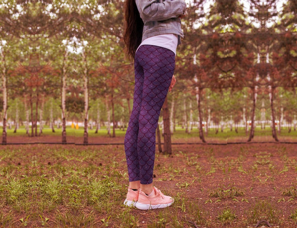 Purple Mermaid leggings, Capris and Shorts freeshipping - PuaGme