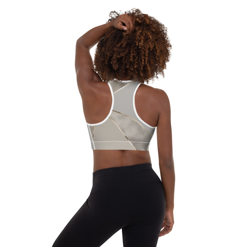 Silver Gold Geometry Sports Bra