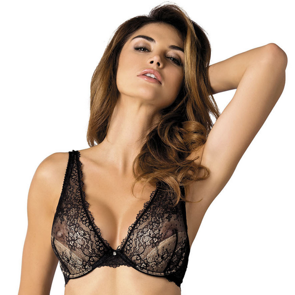 Lace Triangle Underwire Bra Gorteks Scarlet Black freeshipping - PuaGme