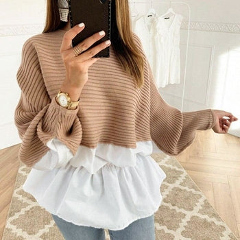 Ruffles Patchwork Sweater Jumper Streetwear
