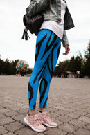 Animal Print Blue Leggings, Capris and Shorts