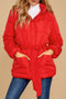 Women Winter Red Puffer Jacket