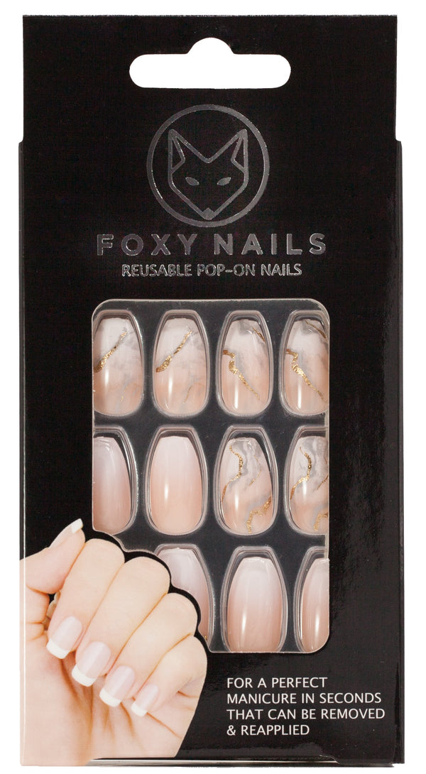 Fifth Ave. - Marble Peach Pink Coffin Nails freeshipping - PuaGme