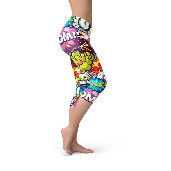 Comic Book Explosions Capri Leggings freeshipping - PuaGme