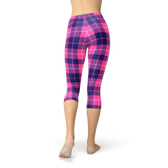 Womens Buffalo Plaid Capri Leggings freeshipping - PuaGme