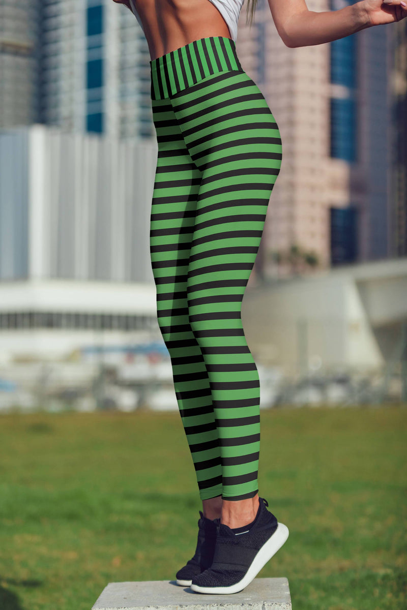 Green striped leggings, Capris and Shorts freeshipping - PuaGme