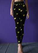 Gold Hearts on Black Leggings, Capris and Shorts freeshipping - PuaGme
