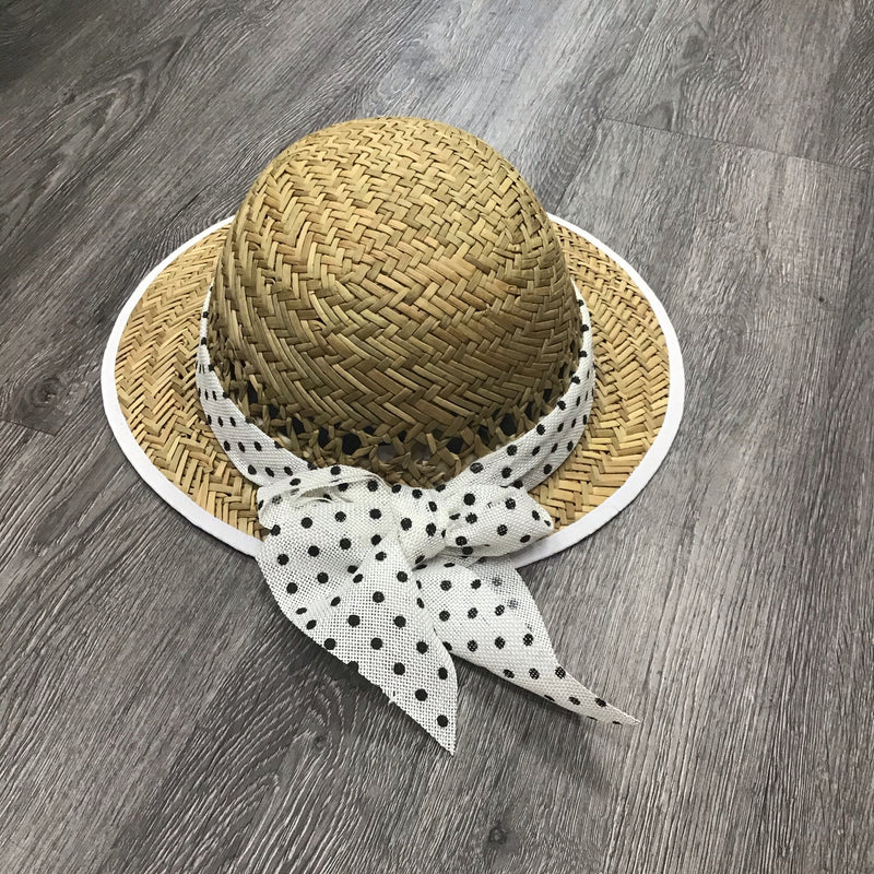 Polka Dot Bow Straw Visor