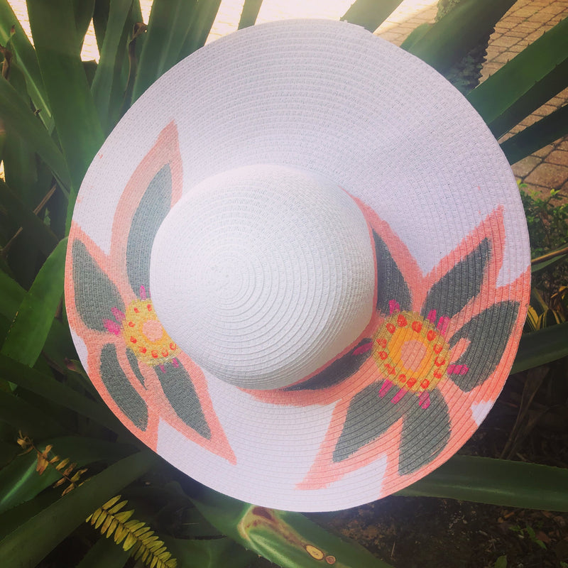 Pink 'Flowers' Handpainted Hat freeshipping - PuaGme