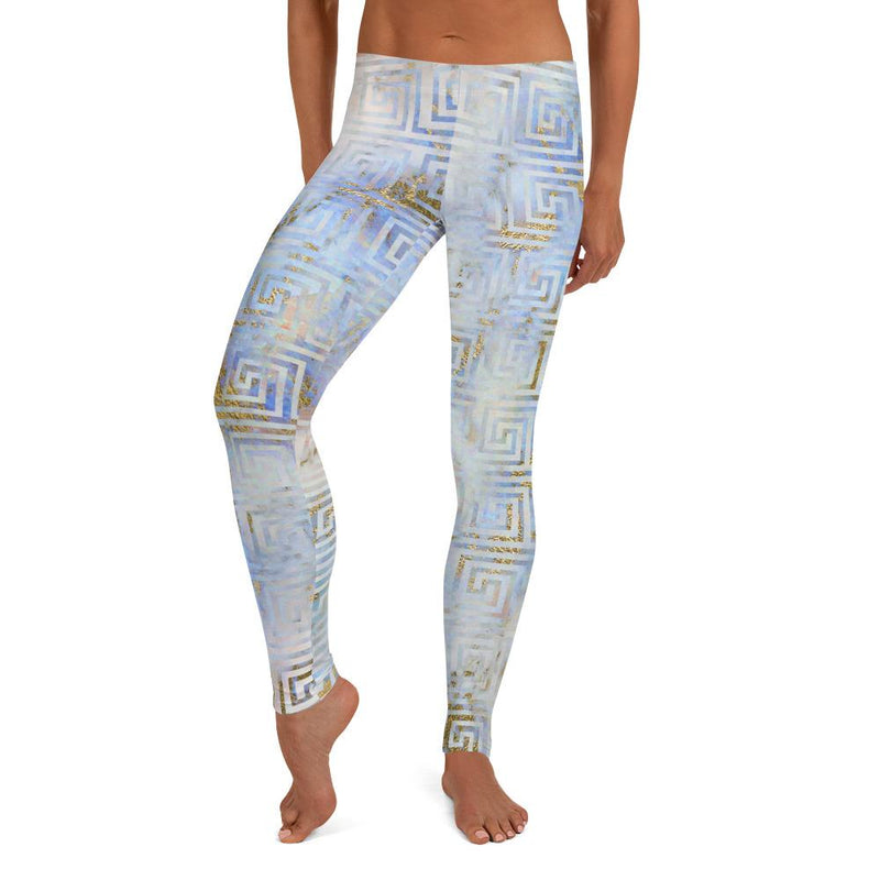 Abstract Blue Gold Art Deco Athleisure Leggings freeshipping - PuaGme