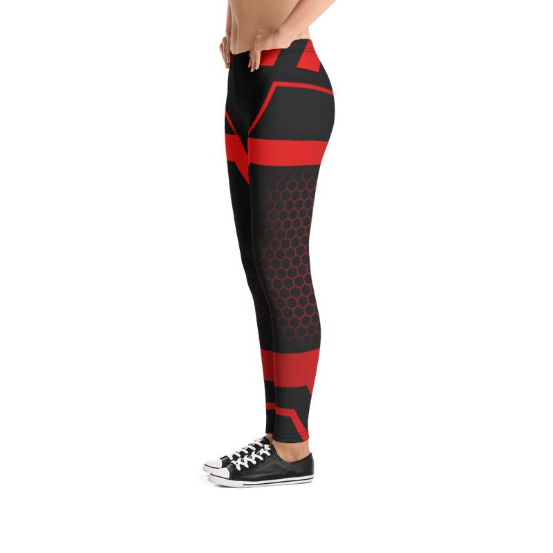 Red Black Geometry leggings, Capris and Shorts freeshipping - PuaGme