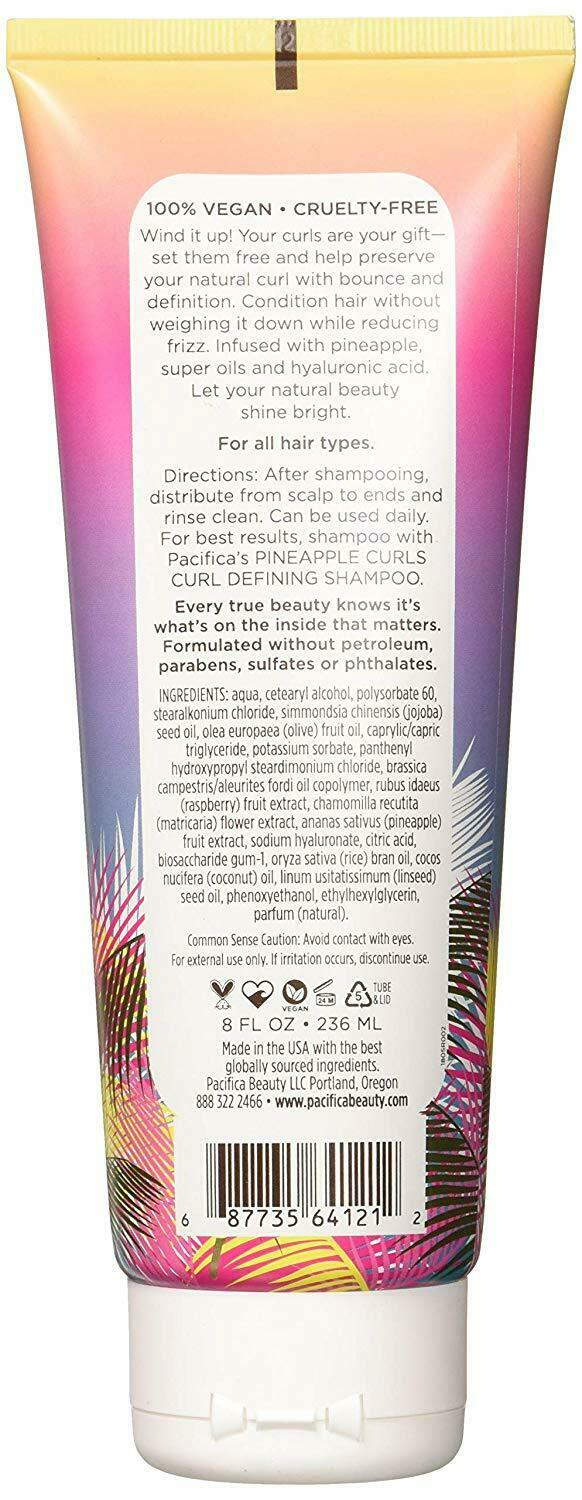 Pacifica Beauty Pineapple Curls Curl Defining Conditioner, 8 Fluid Ounce