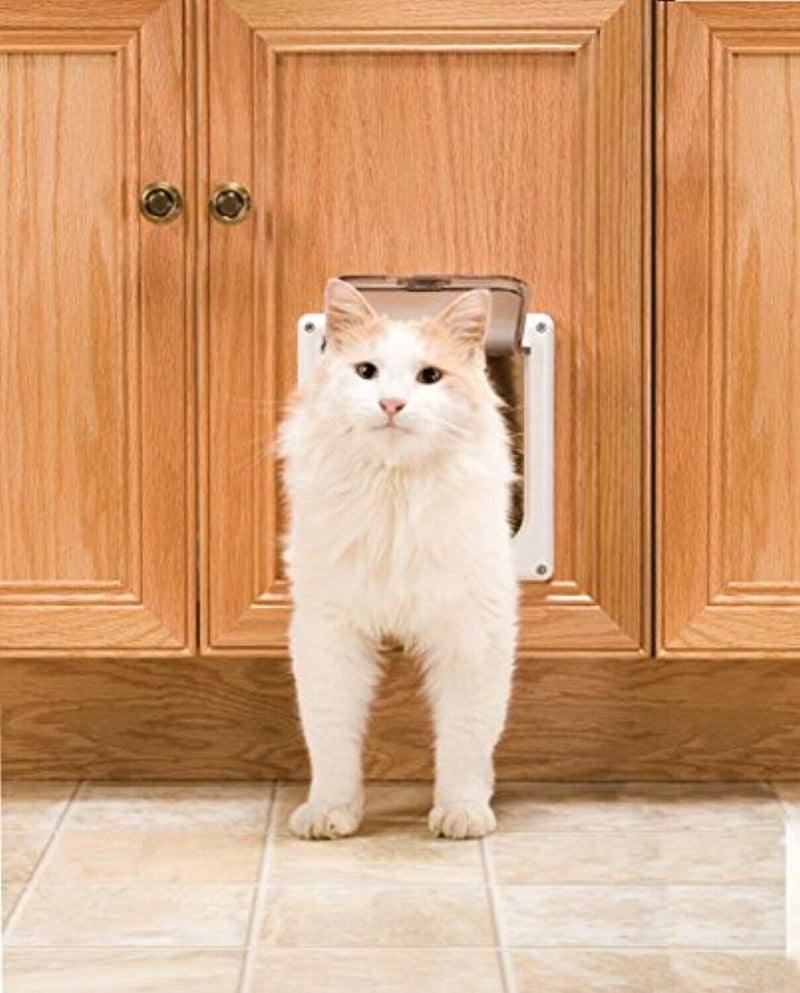 Cat Door 2-Way Locking Interior Flap Opening Transparent Enclosure New